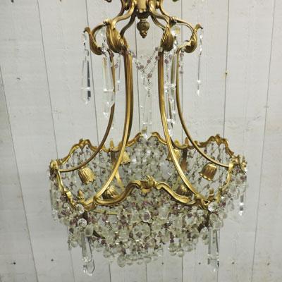 lustre pampilles ancien lustre ancien suspension en verre pampilles et fausses bougies lustre. Black Bedroom Furniture Sets. Home Design Ideas