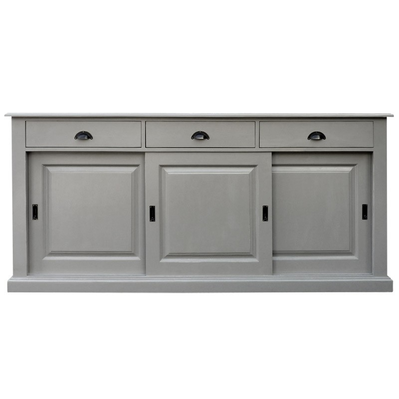 buffet bas gris buffet bas laqu gris 2 portes 3 tiroirs. Black Bedroom Furniture Sets. Home Design Ideas